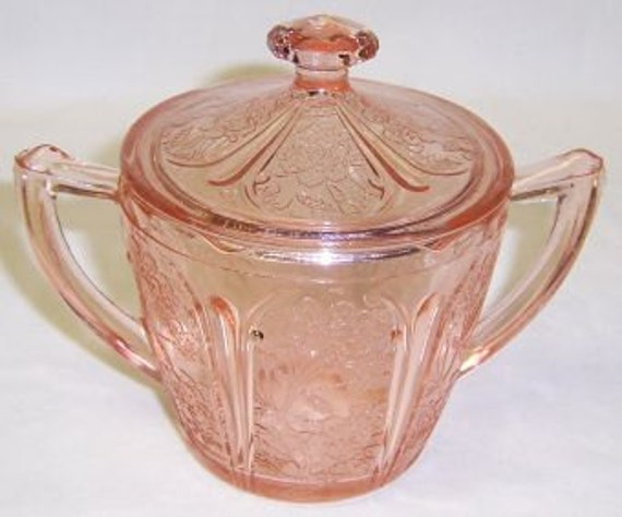 Jeannette Depression Glass Pink CHERRY BLOSSOM Handled Sugar Bowl with Lid