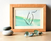 Surf Hang Five watercolor - original framed watercolor - Surfing art