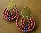 Metallic Gold Polymer Clay Studs with Fuchsia and Blue Beaded Dangle Earrings