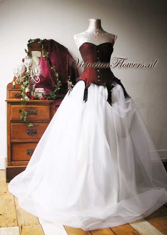 Items similar to gothic couture noir ball gown wedding for Steel boned corset wedding dress