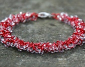 Red Shaggy Chainmaille Bracelet With Clear Glass Seed Beads