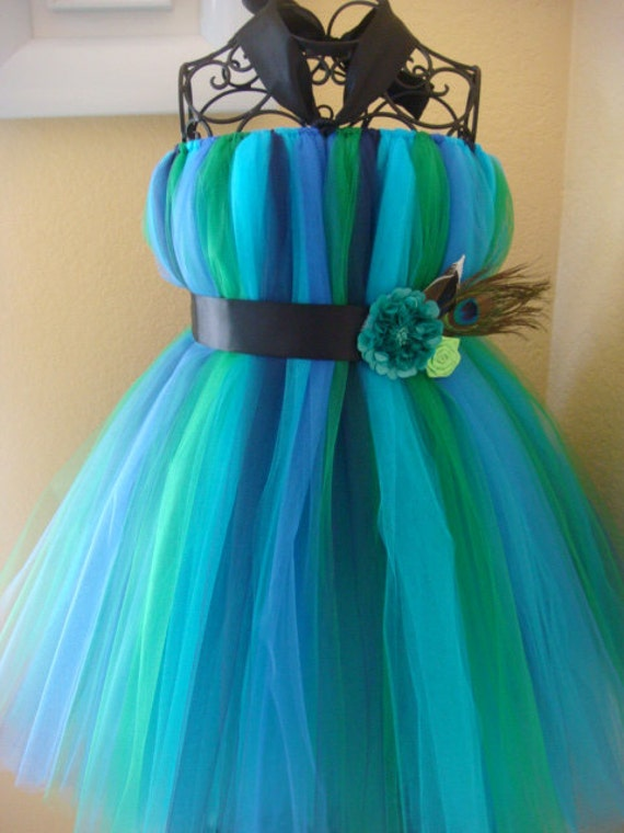 Items Similar To Multi Color Peacock Tutu Dress On Etsy