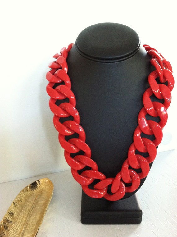 Large red chain necklace