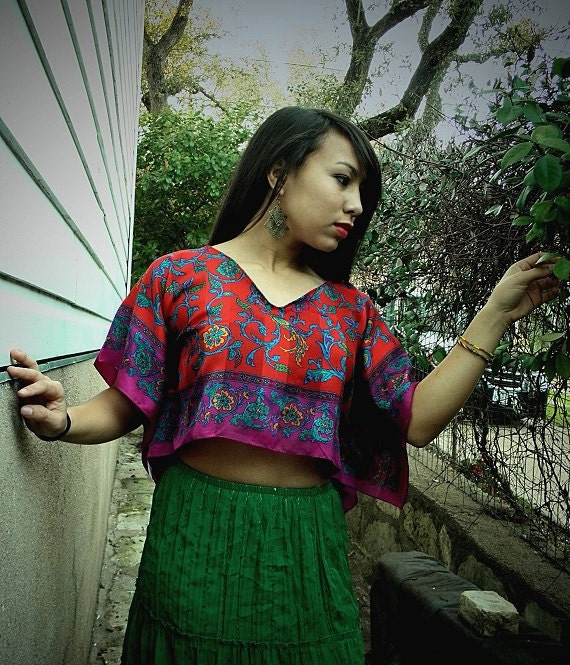 Reserved for Renee Upcycled Jewel colored SILK Cropped Caftan style Blouse with Butterfly Sleeves