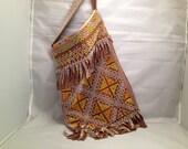 Groovy Retro Beaded and Fringed Purse Shoulder Bag Geometric Orange Yellow and White