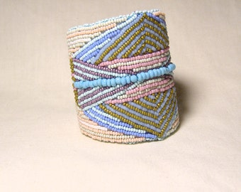 Cuff Bracelet, Native American Arm Guard, Beadwork