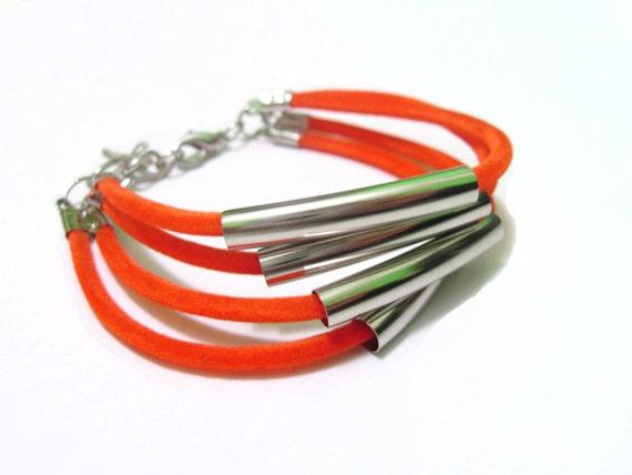 Orange Bracelet - Suede Cord