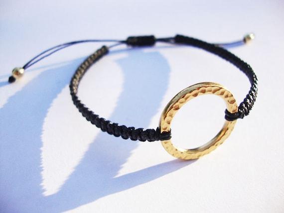 karma bracelet . macrame bracelet . charm bracelet . friendship bracelet . gold plated circle charm with black cord . adjustable