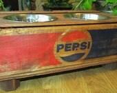 Pepsi red/blue Wood Crate Dog Feeder elevated custom order