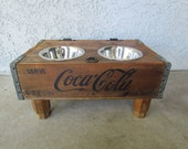 dog bowl holder pet elevated feeder and storage station made from a Coca Cola crate repurposed into pet dish upchucked Vintage 4paws - VintageCrateFeeders