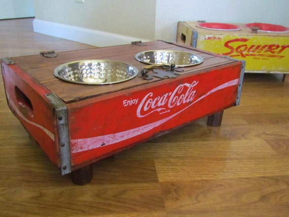 Elevated  Dog Feeder  Bowl Custom fit to Their needs   Coca Cola  repurposed Coke crate recycled