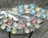 Vintage Multicolored Aurora Borealis AB Rhinestone Leaf Or Feather Brooch Or Pin