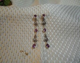 Amethyst Dangle Earrings in Sterling Silver  #97