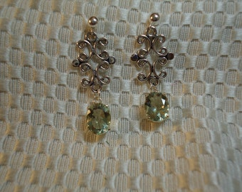 Green Amethyst (Prasiolite) Dangle Earrings in Sterling Silver