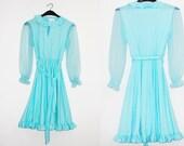 GARDEN PARTY Dress / Vintagel Blue Dress / 1960s small Dress