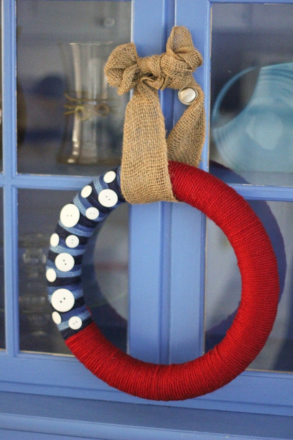 Red , White, and Blue Yarn and Button Wreath, Burlap Tie