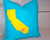 Fun CALIFORNIA state art Decorative Pillow from Home 18x18 bright blue aqua yellow pink wool felt applique