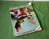 Field & Stream Vintage 1949 Magazine Antique Angling Fishing Hunting, Cabin, den, home decor, collectible