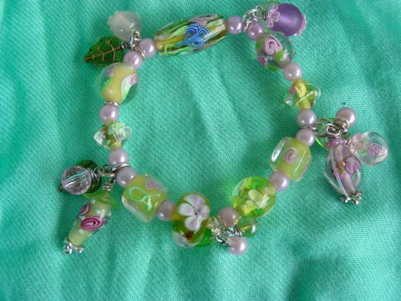 RESERVED FOR CATHARINA....Flowery Fun Glass Bracelet