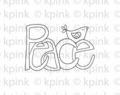 Peace Bird - I Dig Digi Stamp