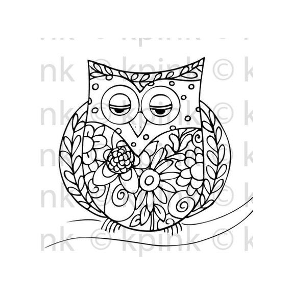 Flowery Owl - I Dig Digi Stamp