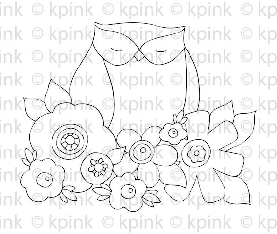 Owl in Flowers - I Dig Digi Stamp