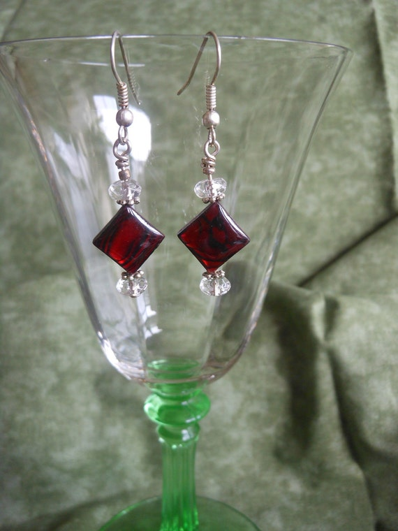 Red Earrings with a Crystal Drop