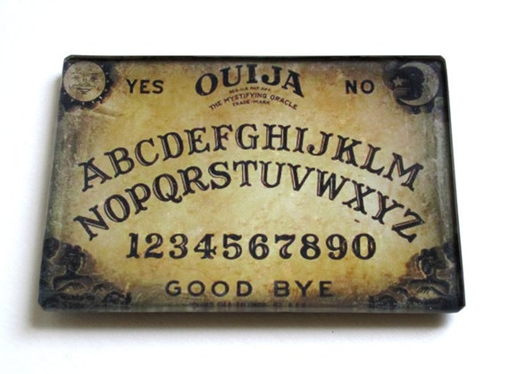 Petite Glass Tray with early 20th Century Illustration of a Ouija Board  (5 x 3.5 in)