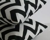 Set of 2 Black Chevron Pillows - 18 x 18