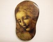 Da Vinci Puzzle Brooch - La Scapagliata 2, wooden puzzle, decorative brooch, Leonardo Da Vinci