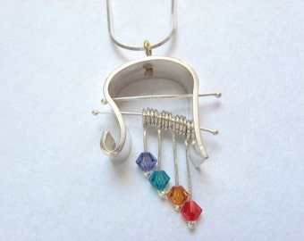 Cool shaped pendant silver and swarovski necklace