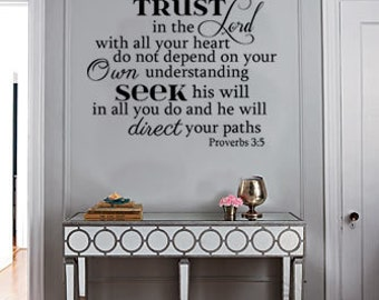 Bible Scripture Vinyl Wall Art Decal Trust in the Lord with all your heart;. Proverbs 3:5