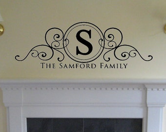 Personalized Family Swirl Design Vinyl Wall Art Decal