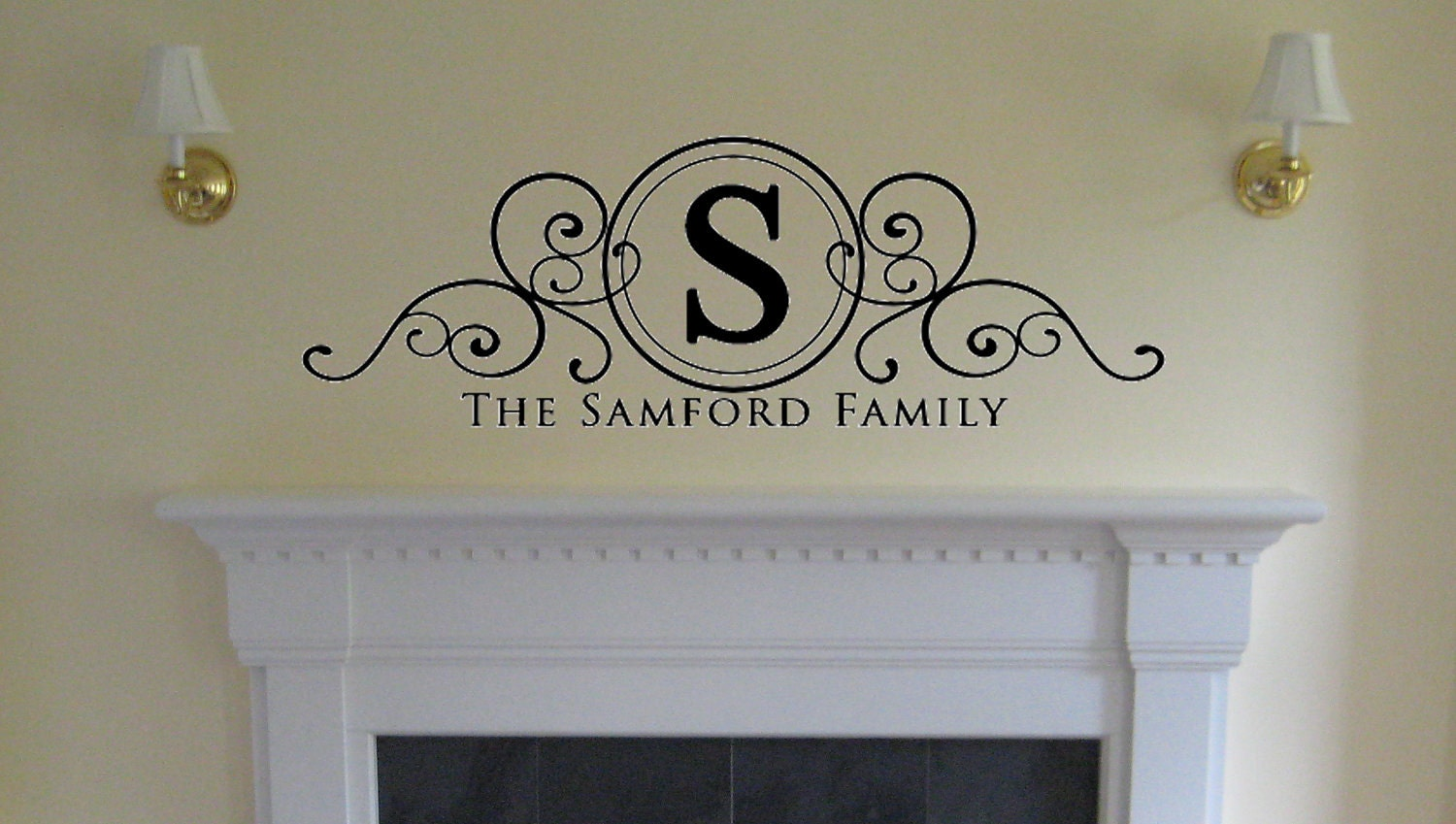 Personalized Family Swirl Design Vinyl Wall by