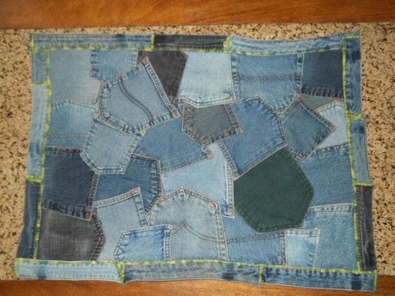 Upcycled Denim Pocket Rug