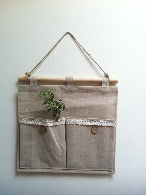 Natural Style Linen Canvas Hanging Storage Bags / Debris Bags/ Organizer Bag, 2 pocket