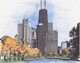 Chicago Skyline 8x10 Hand tinted Print from Original Artwork Free Shipping
