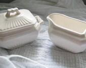 Vintage Bone White Royal Sealy Sugar and Creamer Set - modern porcelain Japan china Asian style