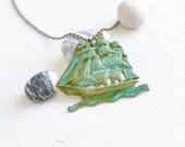 Brass ship necklace - patina covered