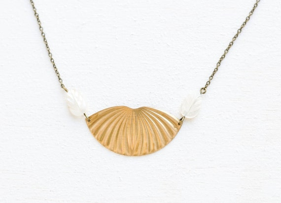 Greek gold brass necklace with white shell leaves - art deco