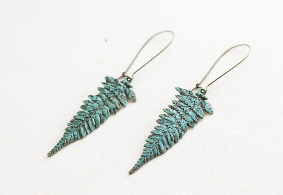 Long brass blue earrings with big fern - leaf - leaves - patina covered