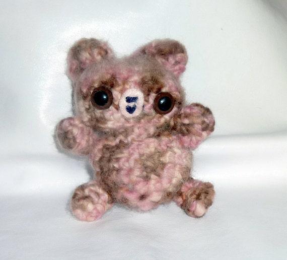 Amigurumi Pink Bear : Crochet amigurumi pink and brown fuzzy teddy bear by Penneeami