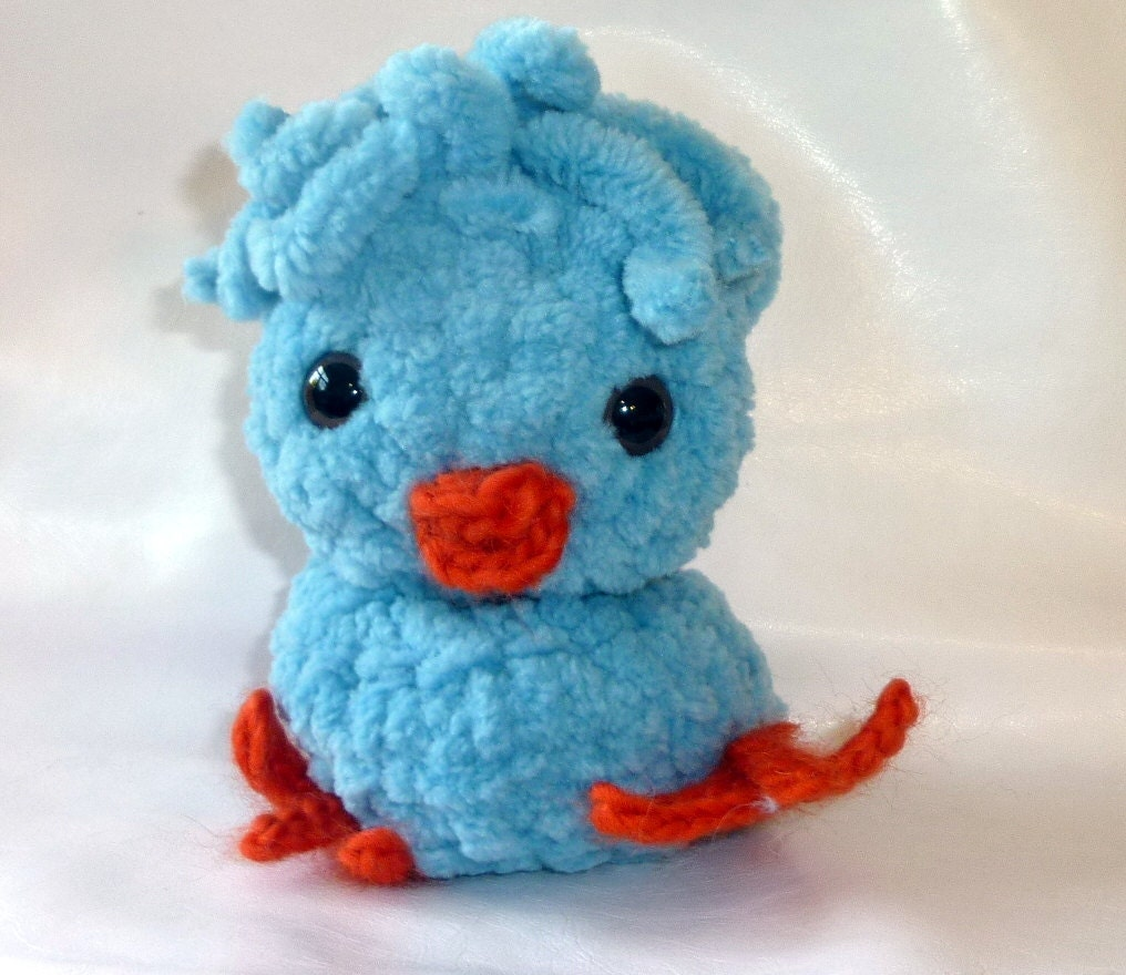 Amigurumi Yarn : SALE Crochet amigurumi chenille yarn blue baby chick by ...