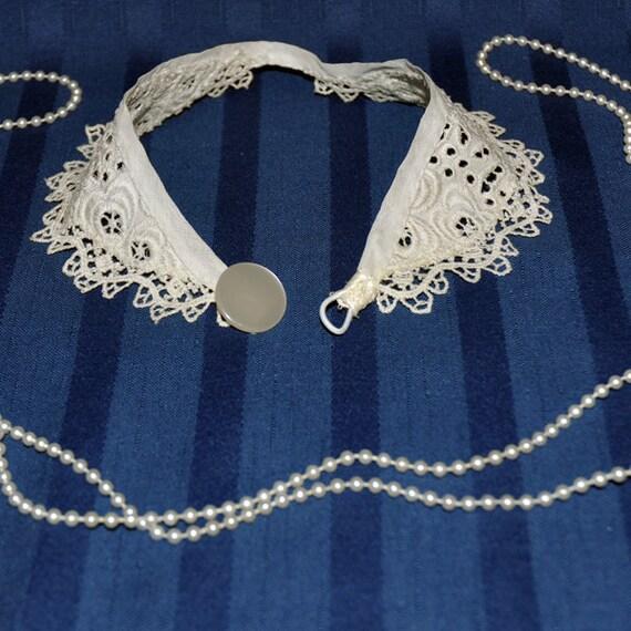 Vintage Lace Collar, Peter Pan Collar, White Lace Peter Pan Collar