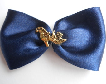 Blue and Gold Rococo Shoe Hair Barrette