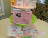 Adorable Pink & Green Tiered Cupcake Stand