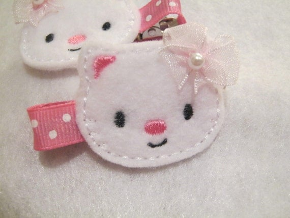 White Embroidered Felt Kitty Hair Clip with No Slip Grip