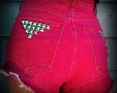 "Vintage High Waisted Studded Cut Off Stone Wash Red Guess Daisy Duke Shorts 34"" Waist"