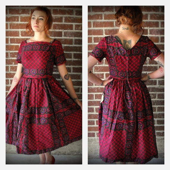 Vintage 1960's Calico Vicky Vaughn Dress with tags.