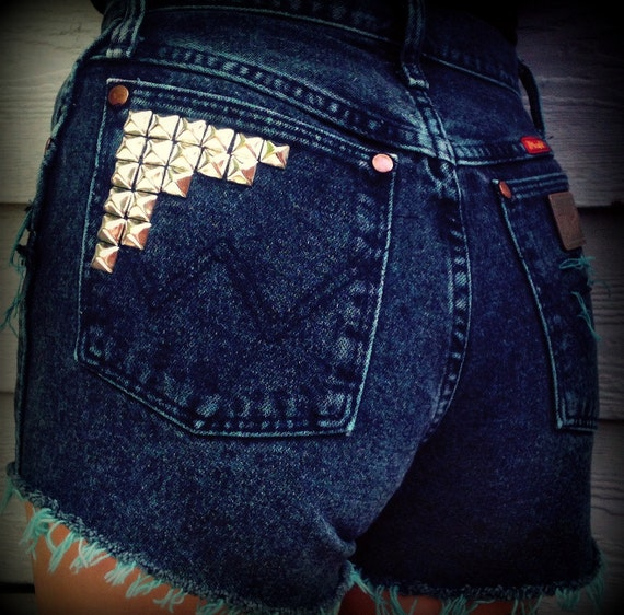 "Vintage High Waisted Studded Cut Off Wrangler Daisy Duke Shorts Turquoise Teal Acid wash 25""  Waist"